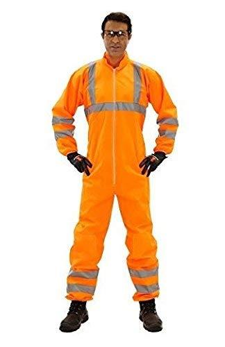 Einweganzug für Karneval Fasching Verkleidung Kostüm/Einweg-Warnschutz-Overall Anzug/Schutzanzug mit Signalfarbe orange mit Reflektoren/Werde zum Müllmann Maler Lackierer Bauarbeiter, Größe:XL (Maler Overall Kostüm)