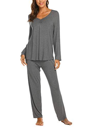 Maxmoda pigiama due pezzi donna pigiami cotone scollo a v ragazza maniche lunghe con pantaloni grigio scuro