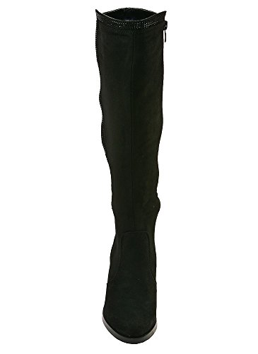 Botte Haute Suèdine et Strass Noir Noir