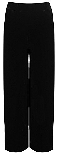 Girlzwalk Women's Plus Velour Velvet Wide Flared Leg Pocket Palazzo Pants Sizes (40 To 52) (schwarz, EU 44-46 (UK XL)) (Pants Velvet Leg Wide)
