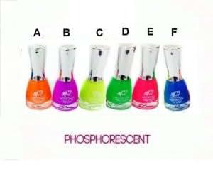 Lot de 6 Vernis UV phosphorescent - Orange, Violet, Rose, Bleu, Multi & Jaune paillette -