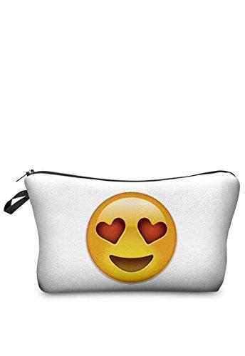 Emoji faccine Emoticon book Case Love astuccio busta sacchetto bizippo timando beauty case Make Up Bag chiusura lampo Full Print All Over sacchetti cosmetici