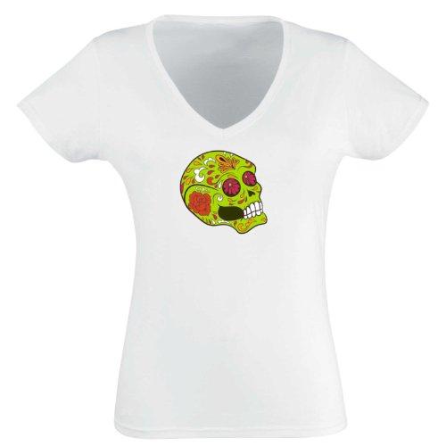 V-T-Shirt - Frankly Skull 07 - Totenkopf - Sugar Skull - Damen Weiß