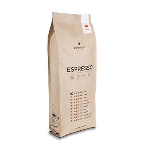 Fortezza Espresso Puro | 1kg ganze Bohnen | 100{633dd30b5c6aa91b11c27ac812b1aa4dceb9f2ec3a3a150078b29c43d0ae8a0d} Gourmet-Robusta | Geringer Säureanteil | Hoher Koffeingehalt | Premium-Kaffee in bester Qualität | Full City Plus Röstgrad