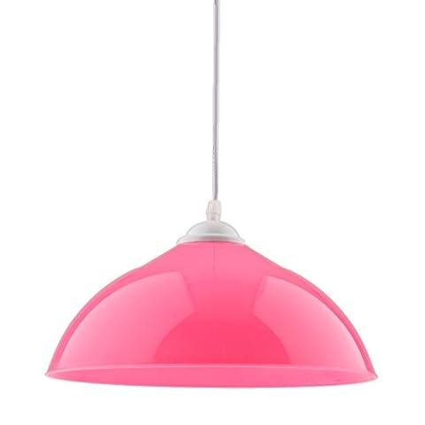 Gazechimp Lustre en PVC de Semi-Circulaire Abat-jour Pendentif pour Ampoule E27 Chambre Salon - Rose