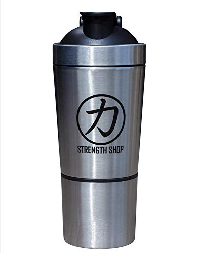 Strengthshop Mixbecher Shaker Aus Edelstahl Stainless Steel, Mit Zusatzfach Compartment Stainless Steel Shaker