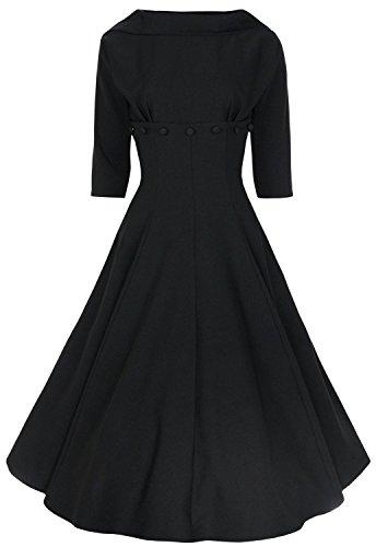 Ecollection® Damen Audrey Hepburn 50s Retro vintage Bubble Skirt Rockabilly Swing Evening Dress Kleider W704 Black