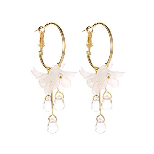 Mypace 925 Silber Gold Set Creolen hängende Ohrringe Für Damen Süße Temperament weiße Blume Kristall Anhänger Metall Ohrringe Damen Schmuck -
