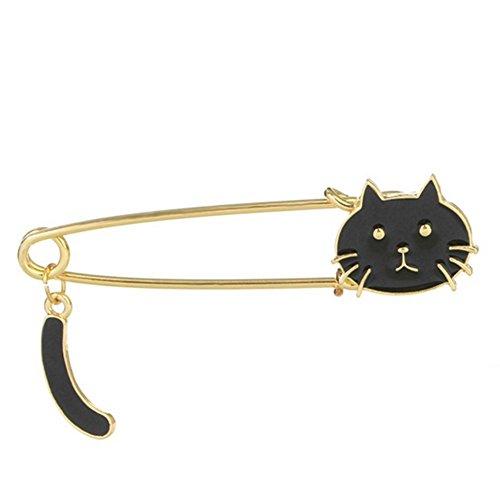 bigboba personalidad Animal de gotas de aceite broche con cola móvil gato broche Pin ropa bufanda chal Clip decoración cumpleaños Festival regalo negro 1,8* 7.1cm