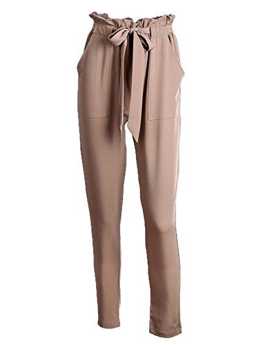 Simplee Apparel Damen Hosen Elegant High Waist Stretch Chiffon Skinny Hosen Pants Casual Streetwear Hosen mit Tunnelzug Hell-Braun
