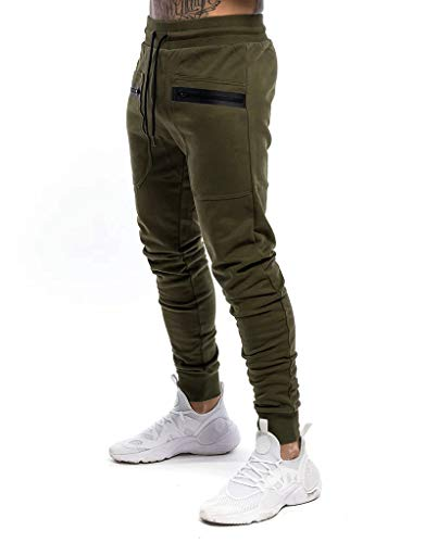 Yidarton Pantalon de Jogging Homme Casual Mode Training Pants Pantalon De Survêtement Taille Élastique Coton Automne Hiver (B-Vert, Large)