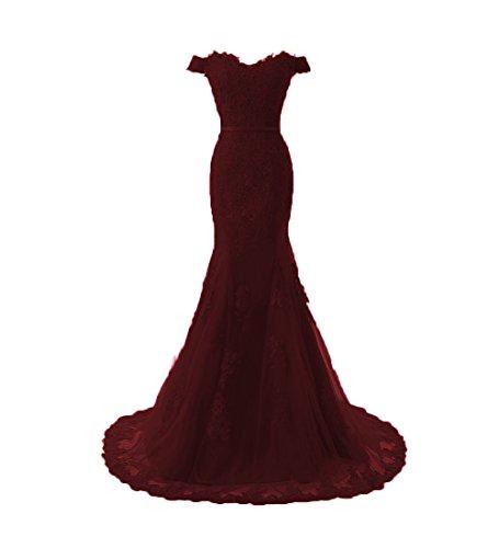 O.D.W Damen Spitze Lange Vintage Hochzeitskleider Mehrfarbig Meerjungfrau Gotisch Brautkleider (Burgund, 52) (Brautsträuße Burgund)