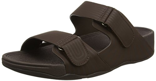 FitFlop Gogh Moc Pool Slide Adjustable, Sandales  Bout ouvert homme Brown (Chocolate)