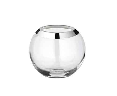 Kugelvase Mirinde, Kristallglas mit Platinrand, Durchmesser 15 cm, Höhe 13 cm