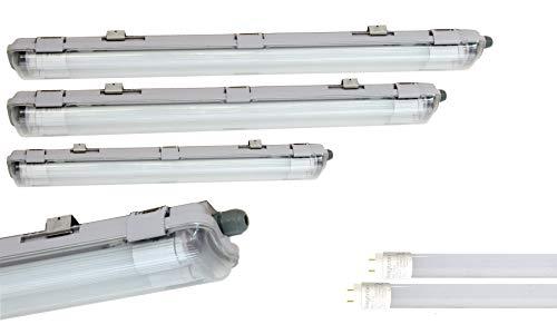 LED 60cm Feuchtraumleuchte 2x 9W LED Röhre Warmweiß IP65 Wannenleuchte 900 Lumen, Plastik, Grau, 66 x 9.6 x 5.8 cm, für Garage, Keller, Werkstatt, Außenanwendungen