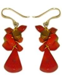 Chic-Net Fantasie-Ohrringe rot-orange braun Perlen Korallenstücke 925er Sterlingsilber