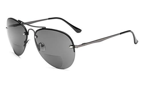 Eyekepper Hälfte-Rand Pilot Stil Bifokal Sonnenbrillen lesen Gunmetal,+2.00