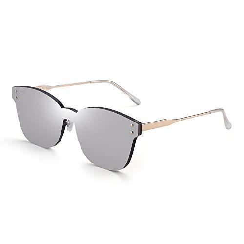 JIM HALO Ein Stück Randlos Sonnenbrillen Damen Transparent Candy Color Getönt Linse Verspiegeltes Silber