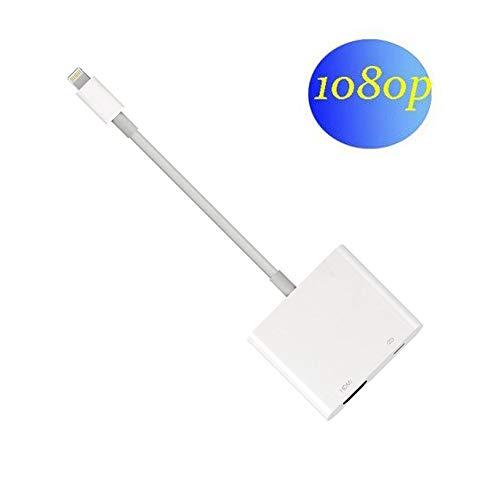 lifeicomall Kompatibel mit iPad iPhone zu HDMI Adapterkabel, Digital AV Adapter, HDMI Adapter Digital AV Konverter zu 1080P HDTV Monitor Projektor