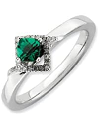 Black Bow Jewellery Company : Stackable Created Emerald & .10 Ctw HI/I3 Diamond Sterling Silver Ring