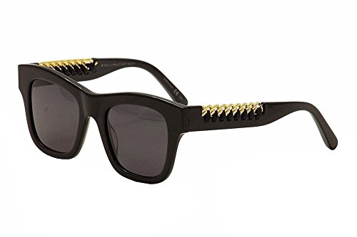Stella mccartney sc0011s 001, occhiali da sole unisex-adulto, nero (001-black/grey), 49