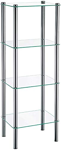 Kela 18051, Regal, 4 Etagen, Metall/ Sicherheitsglas, 40x 30x 106 cm, Lars, Verchromt