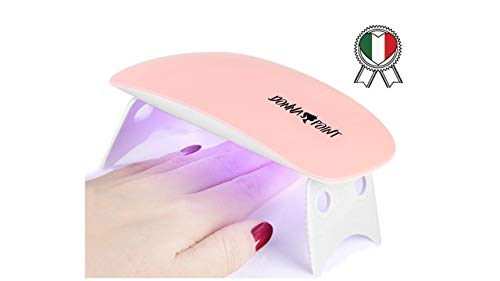 lampada led unghie donnapoint lampada uv unghie, ricostruzione unghie, mini lampada unghie, asciuga smalto gel unghie, lampada portatile, 6w, 2 timer preimpostati (60s, 120s) (rosa)