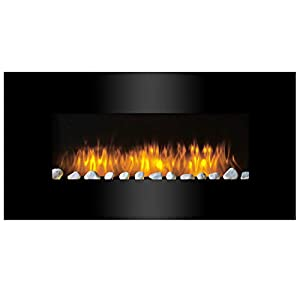 Classic Fire AJ15-S Vancouver – Calefactor de Pared con Efecto Chimenea, Mando a Distancia, 2000 W, Negro, 105,5 cm