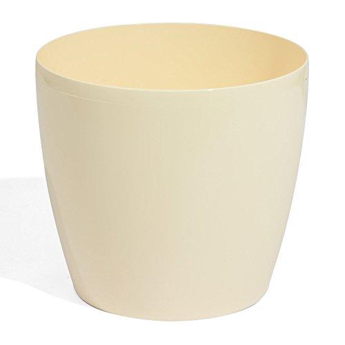 Pot de fleur cache pot bac a fleur en plastique rond hauteur 21 cm capacite 6,5 L crème