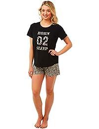 6b687241eb6d Nikaro Ladies Born 02 Sleep Animal Print Short & T Shirt Set with Matching  Eye Mask