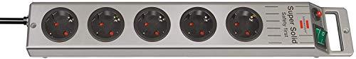 Brennenstuhl Super-Solid, Steckdosenleiste 5-fach (2,5m Kabel und Schalter - aus bruchfestem Polycarbonat) Farbe: schwarz / silber