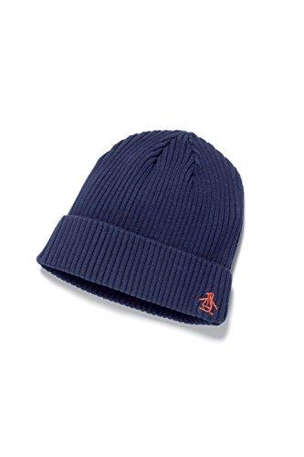 original-penguin-hombre-trenzado-del-hilado-de-la-costilla-logo-beanie-azul-one-size