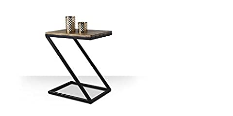 Wood Dekor Z Design End Table with Iron & Wooden Top, Top Mango Natural & Iron Frame Black Color, 50x40x60