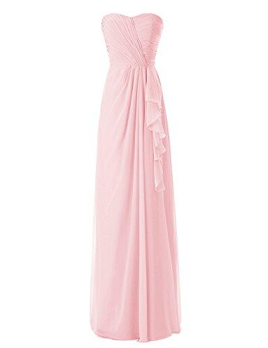 Dressystar Fourreau, Robe de demoiselle d'honneur/de soirée longue,Sans Bretelles en Mousseline Rose