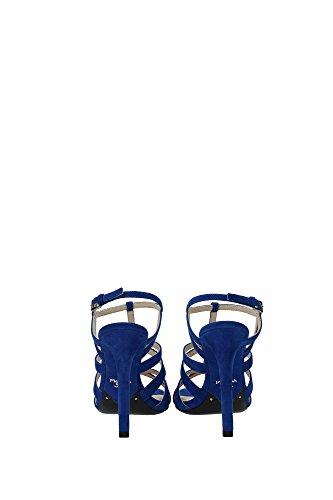 1X560FBLUETTECAMOSCIO Prada Sandale Femme Chamois Bleu Bleu