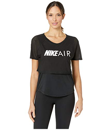 Nk Air (Nike Damen W NK AIR TOP SS GX T-Shirt, Black/White, XS)