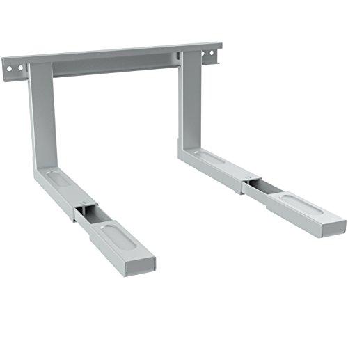 Soporte universal para microondas de deleyCON - Soporte de pared para microondas - Hasta 35 kg - Extensible hasta 53,5cm - Soporte para horno - Plata