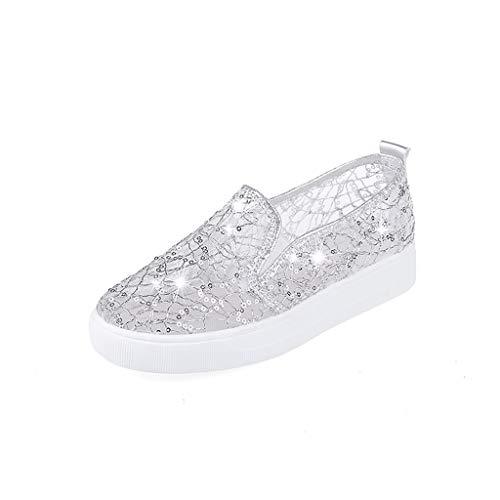 POLP Zapatos Planos de Encaje para Mujer,Sandalias Plano Transpirable Playa Casual,Sandalias Mujer Verano...