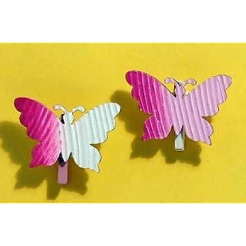 Craft per occasioni, Wavy Rosa Farfalla pioli, 6pcs. (Farfalla Strings)