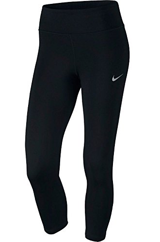 Nike Damen 3/4 Power Essential Running Laufhose, Schwarz (Black), M (Capri Tights Running)