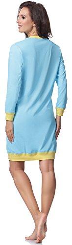 Italian Fashion IF Chemise de Nuit Femme Cheerful 0111 Turquoise/Jaune