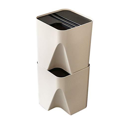 stapelbares Mülltrennsystem,Dual Recycling Bin 2 * 15L Mülltrennsystem Papierkorb Stapelbehälter Küche Abfallbehälter Schlank Mülleimer für Küche Badezimmer Schlafzimmer Wohnzimmer Büro (Beige)