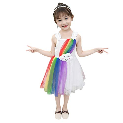 AQIN Damenrock Mädchen Retro Petticoat Rock Ballett Tutu Tüllrock Partyrock 3-Lagig Tütü Rock Regenbogen,Anzug für Alter 12 Monate - 5 Jahre