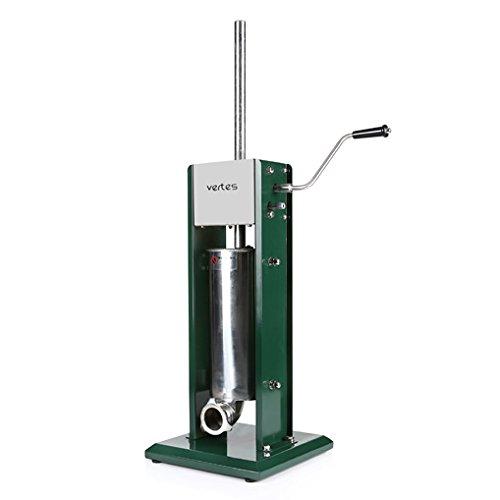 Vertes 5 Liter Wurstfüllmaschine (Edelstahl-Zylinder, inkl 4 Fülltüllen aus Edelstahl Ø 16, 22, 32 und 38 mm, 2-Gang Getriebe, 3 zusätzliche Ersatzdichtungen)