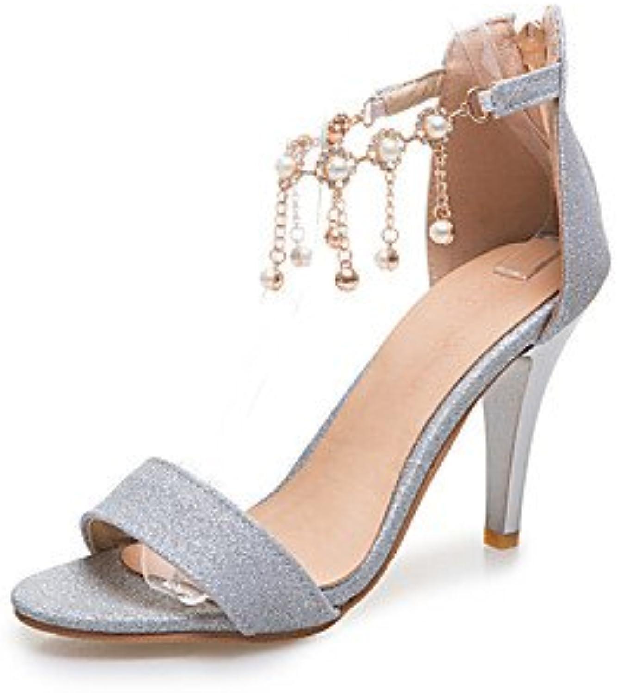 ligaosheng Mujer-Tacón Stiletto-Otro-Sandalias-Vestido Informal-Semicuero-Rojo Plata Oro, Silver, us5/eu35/uk3... -