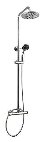 Rund Thermostat Dual Control Overhead regen Dusche Bar Ventil-Mischbatterie-Set chrom mit Easy Fit Kit