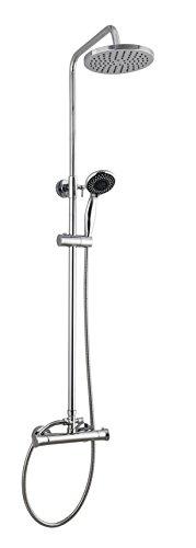 Rond thermostatique avec contrôle Augmentant la barre de douche pluie robinet mitigeur kit Chrome avec Easy Fit Kit