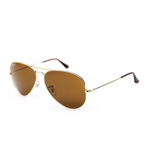 Ray Ban Unisex Sonnenbrille Aviator, Gr. Large (Herstellergröße: 58), Gold (gold 001/57) (Ray-ban Rb 3025 Polarized)