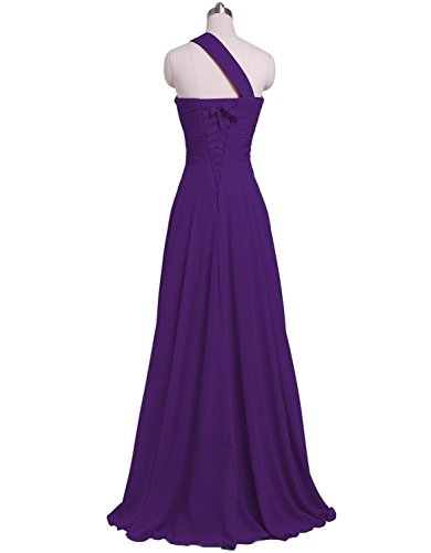 CoutureBridal® Robe Maxi de Soirée en Chiffon sans Dos Perlé avec Une Epaule Violet