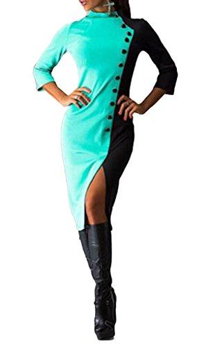 Smile YKK Femme Robe Moulante Longue Robes de Soirée Cérémonie Cocktail Col Rond Charmant Bleu
